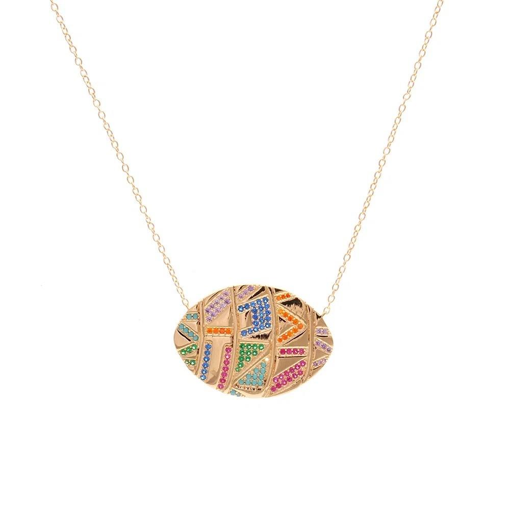 Colar Medalhas Zircônias Coloridas Banho de Ouro 18K - 65 cm