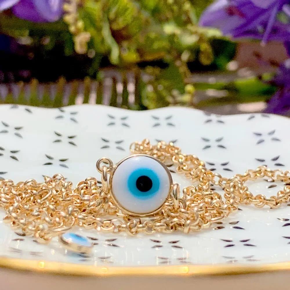 Colar Olho Grego Esmalte Banho de Ouro 18K - 50 cm