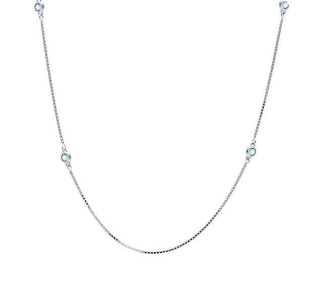 Colar em prata 925 Tiffany Cristal Topázio Azul