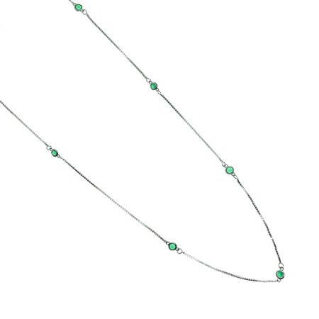 Colar Tiffany Cristal Verde Esmeralda - Prata 925