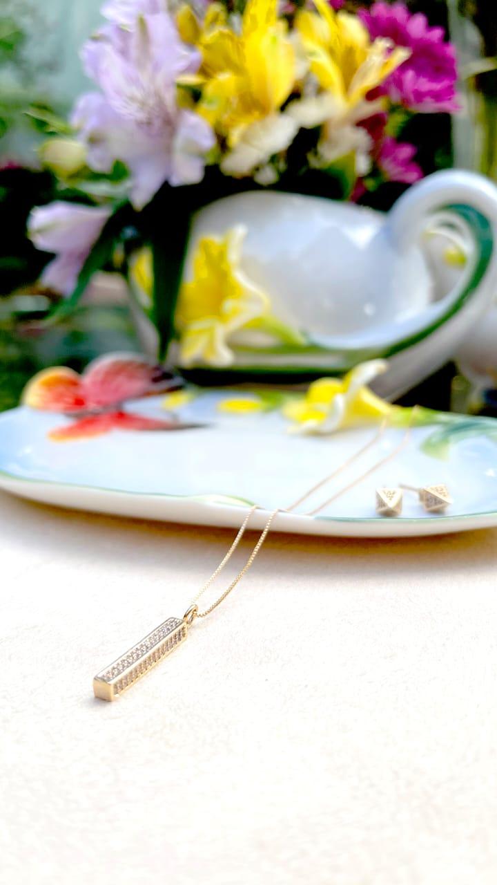 Colar Zircônia Branca Palito 50 cm