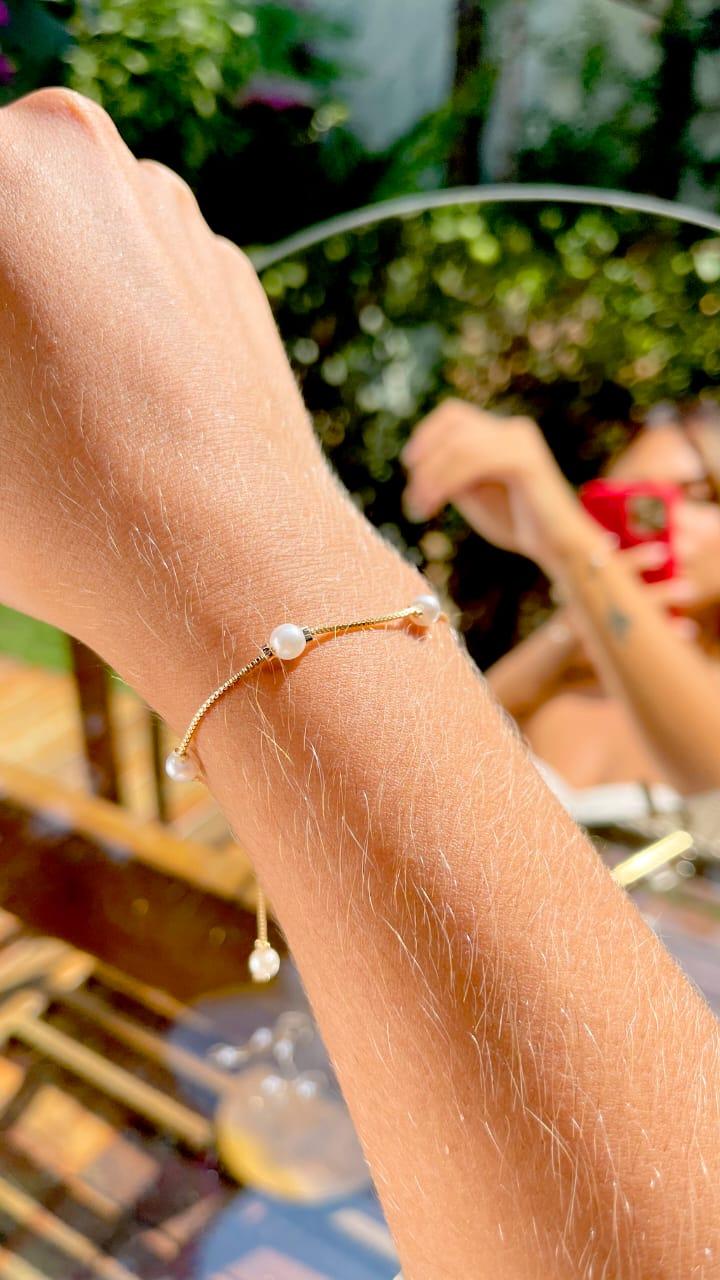 Pulseira 6 Pérolas Banho de Ouro 18K - 20 cm