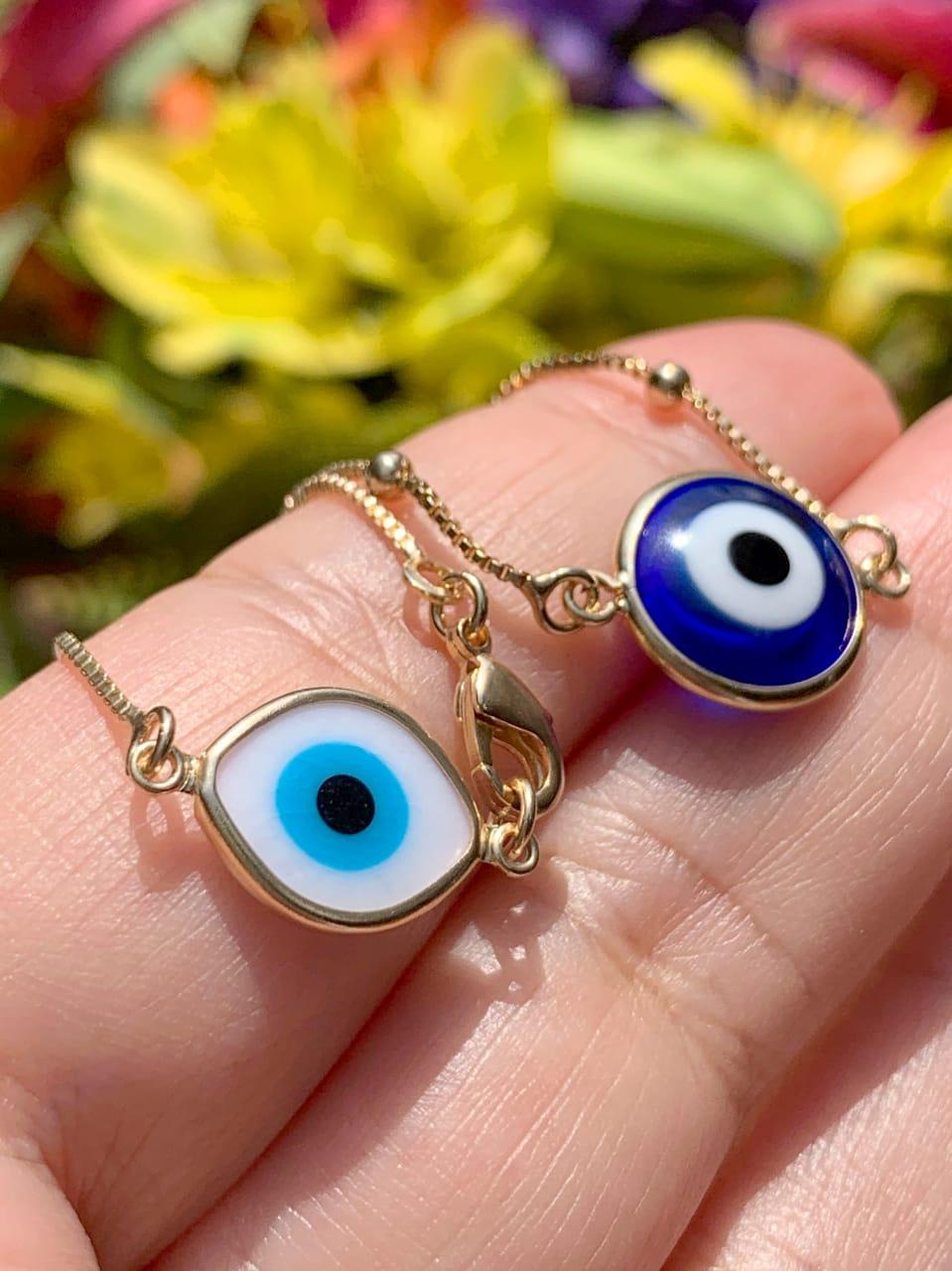 Pulseira Bolinha Olho Grego e Olho Turco 18 cm
