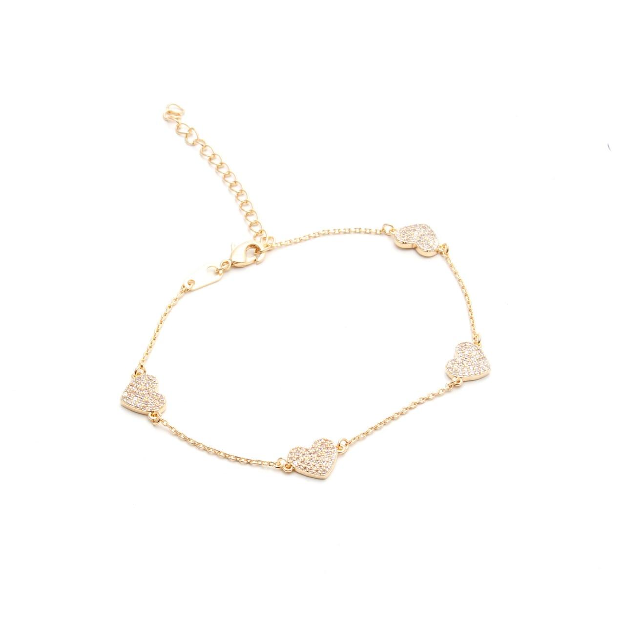 Pulseira Corações Zirconia Branca Banho de Ouro 18K - 21 cm