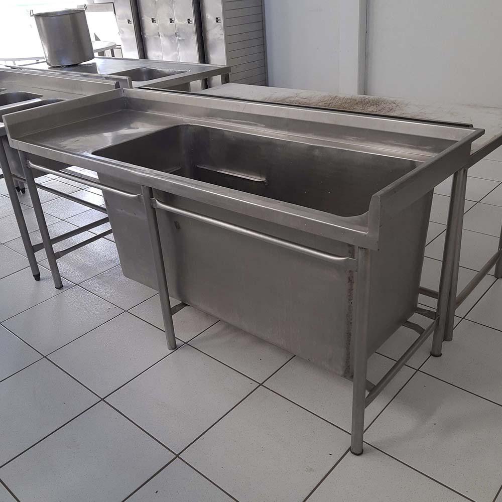 Bancada de Inox Industrial C/ 01 Cuba Reforçada