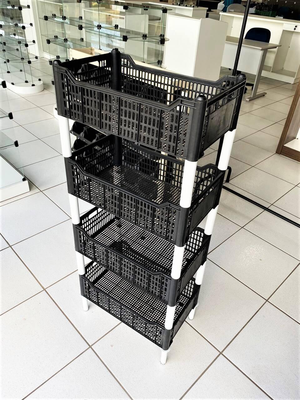 Expositor Multiuso Empilhável Organizador C/ 4 Caixas