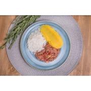 Carne seca refogada + Purê de mandioquinha + Arroz branco (300g)