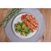 Panqueca integral de carne + Molho de tomate artesanal + Mix de legumes (370g)