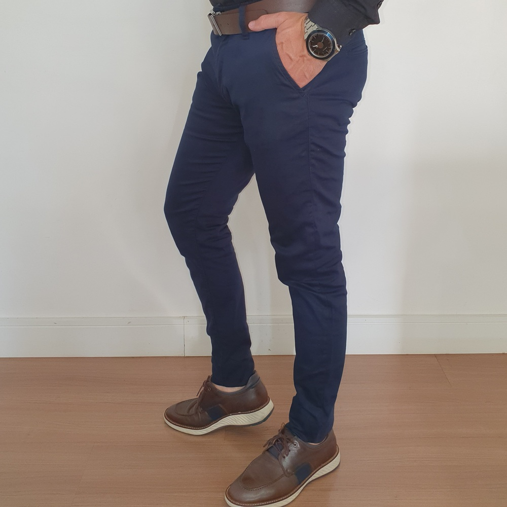 Calça Sarja Alfaiataria Skinny Zip Off - Marinho  - Successful´Man - Moda Masculina