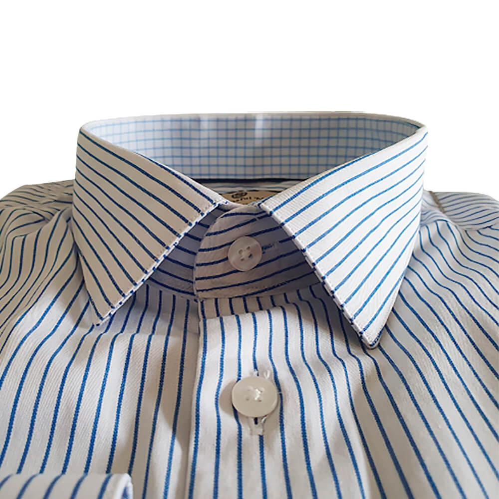 Camisa ML comfort fit em algodão fio 60 com listra azul/branco