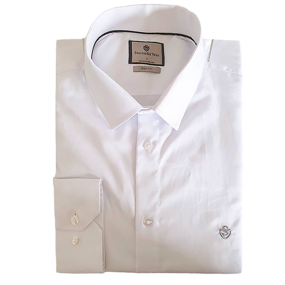 Camisa ML Slim fit Branca Amaciada