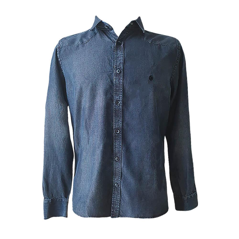 Camisa ML slim fit jeans marinho