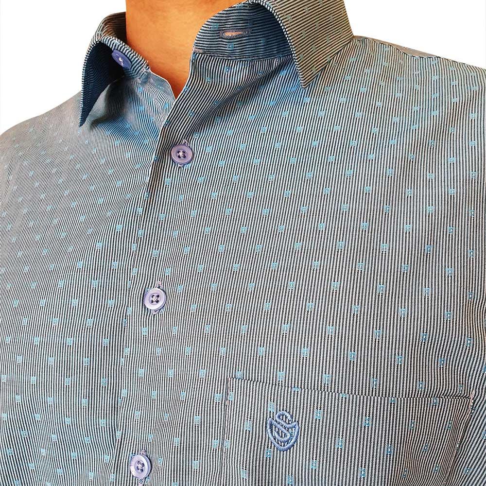 Camisa social ML listrata  com pontos texturizados