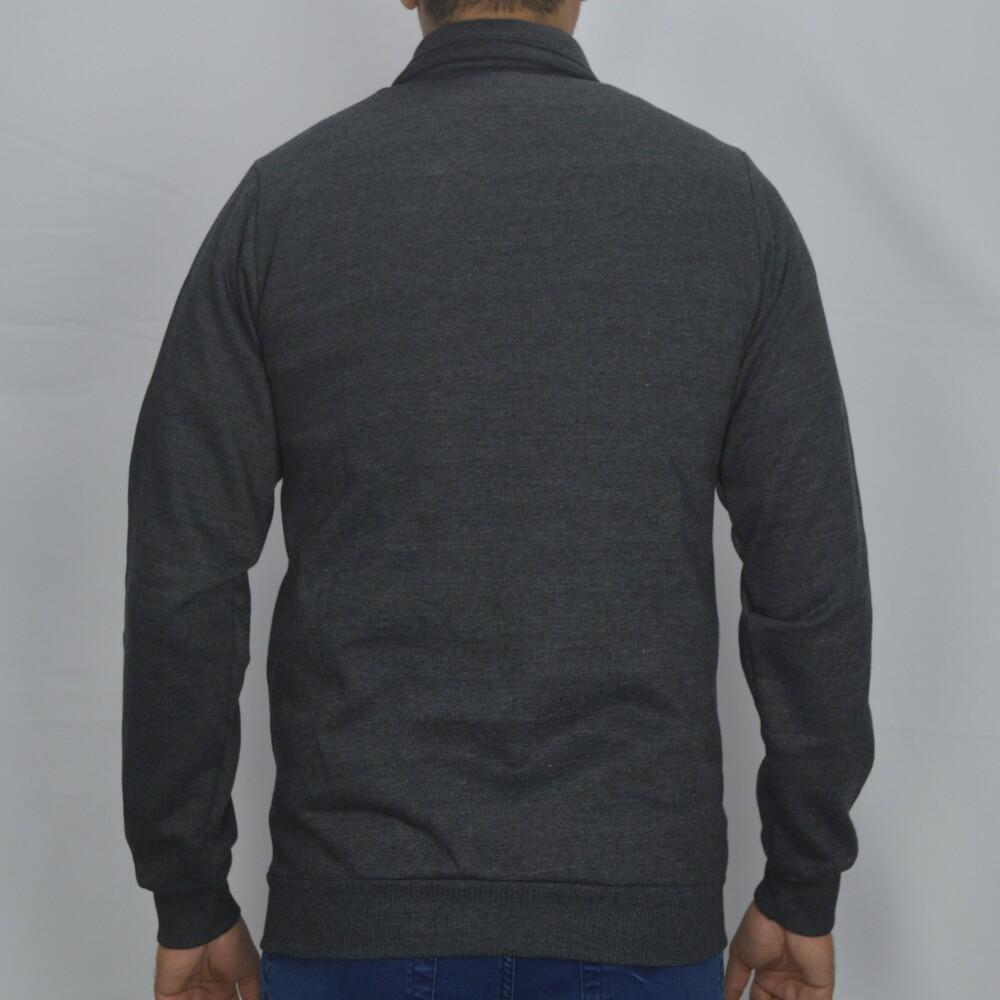 Jaqueta de Moletom Gola Alta Masculina - Cinza