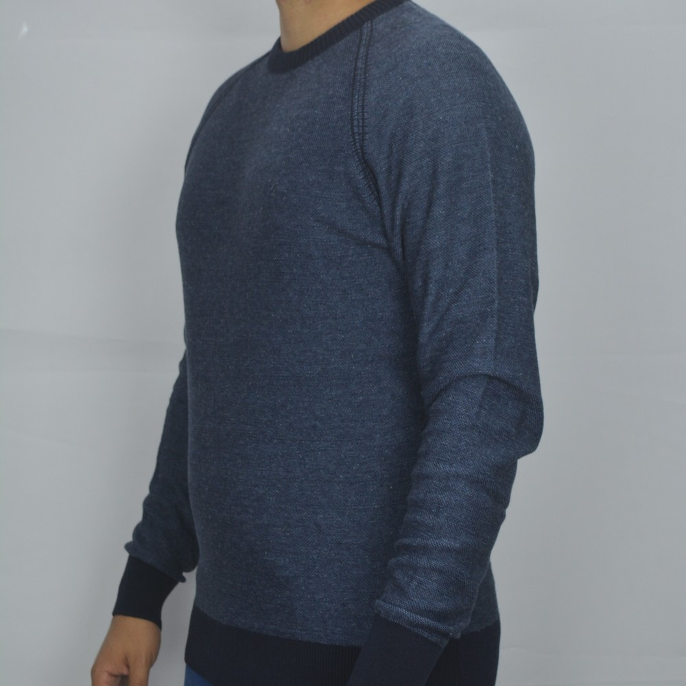 Pulôver Gola Redonda em Tricô Zanatta- Azul Mesclado  - Successful´Man - Moda Masculina