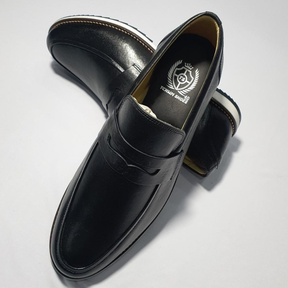 Sapato Casual Mocassim Loafer Couro Nobre - Preto