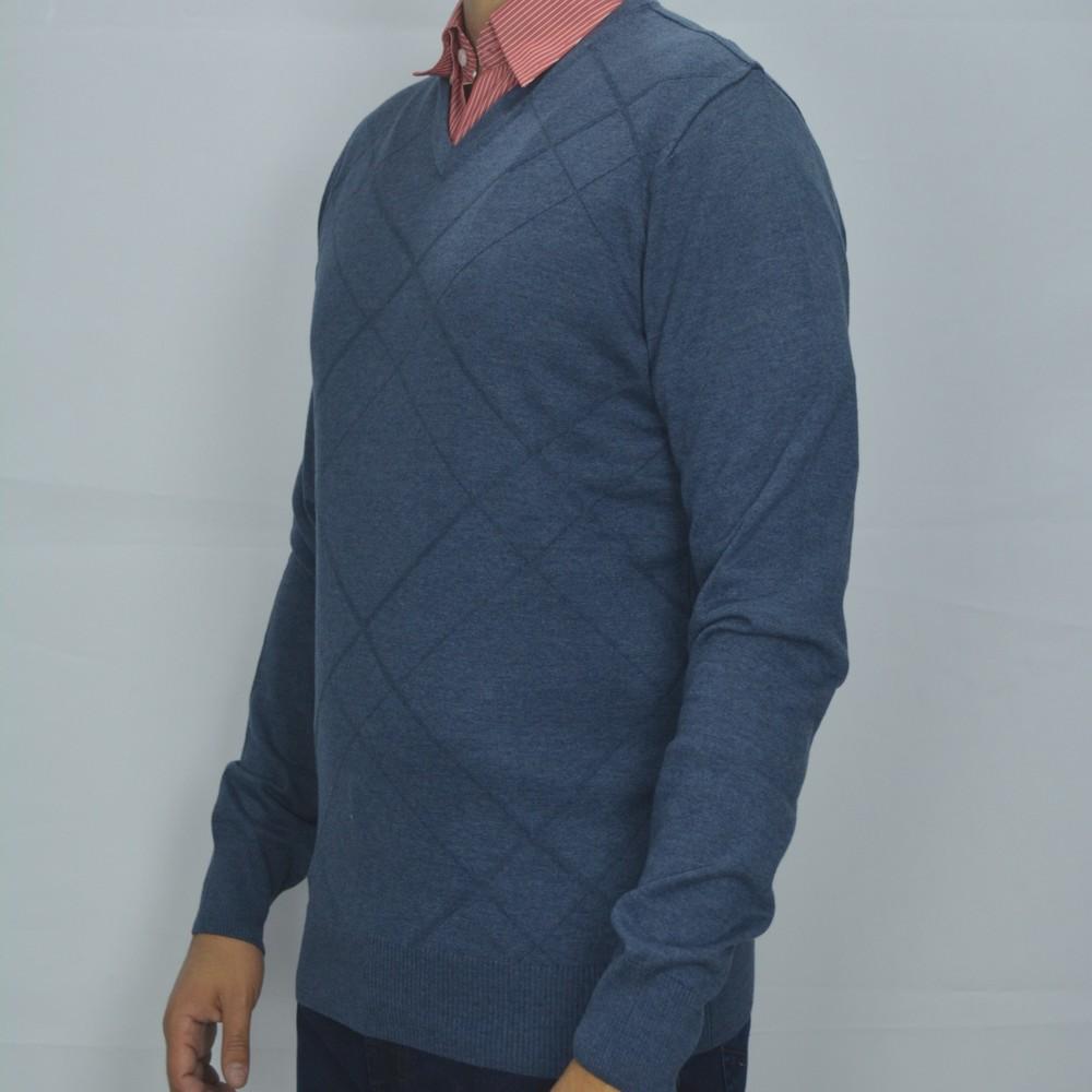 Suéter Gola V em Malha Zanatta - Azul Acinzentado