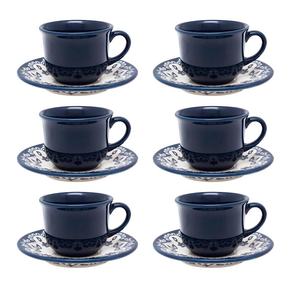 Conjunto 6 Xícaras de Chá com Pires Floreal
