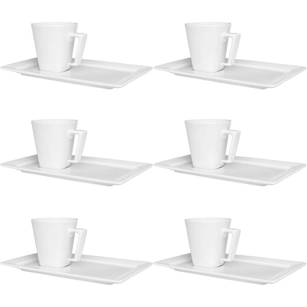 Conjunto de 6 Xícaras de Café com Pires
