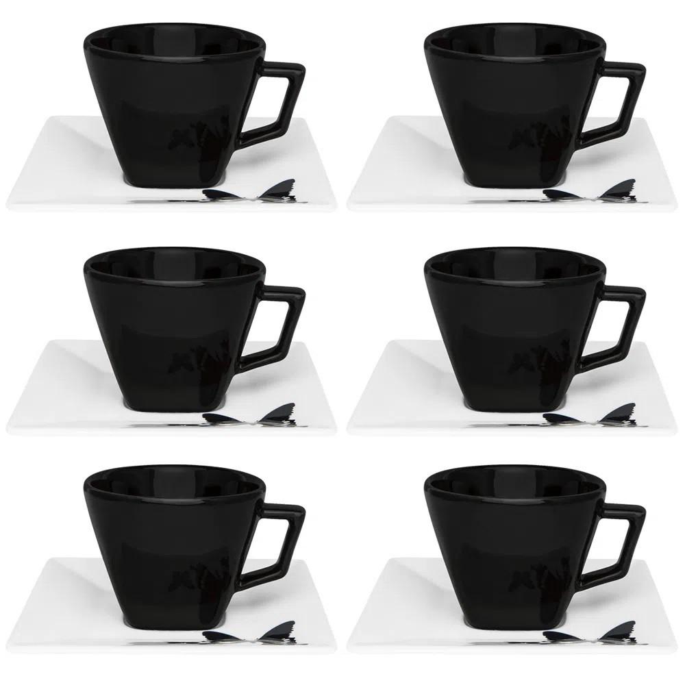 Conjunto de 6 Xícaras de Chá com Pires