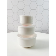 Conjunto de Refratários Listo de Porcelana com Tampa - 3 Peças