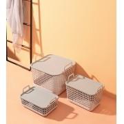 Kit Cesto Organizador Empilhável Minimal com Tampa - 3 Peças