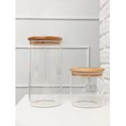 Kit Pote de Vidro com Tampa de Bambu 500ml + 1100ml - 2 Peças