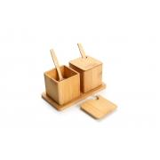 Porta Condimentos Duplo Bamboo