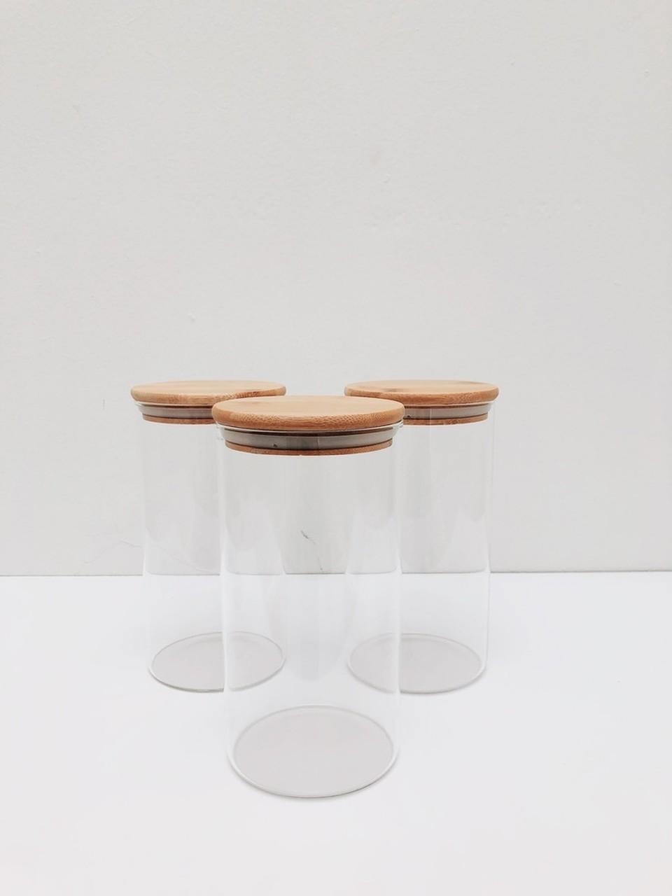 Kit Pote de Vidro com Tampa de Bambu 1100ml - 3 Peças  - CASACOBRE