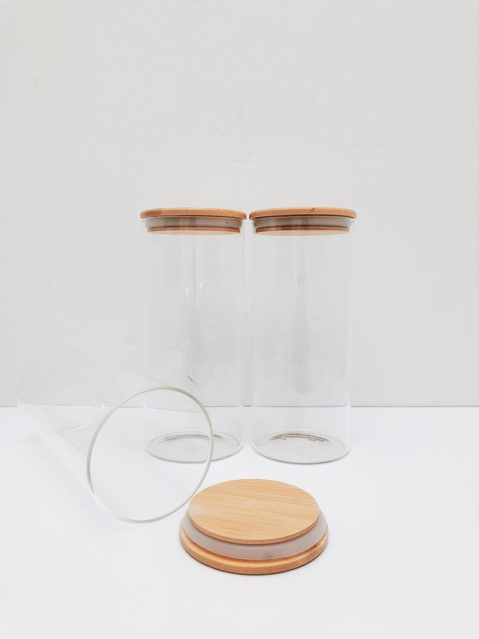Kit Pote de Vidro com Tampa de Bambu 1650ml - 3 Peças  - CASACOBRE
