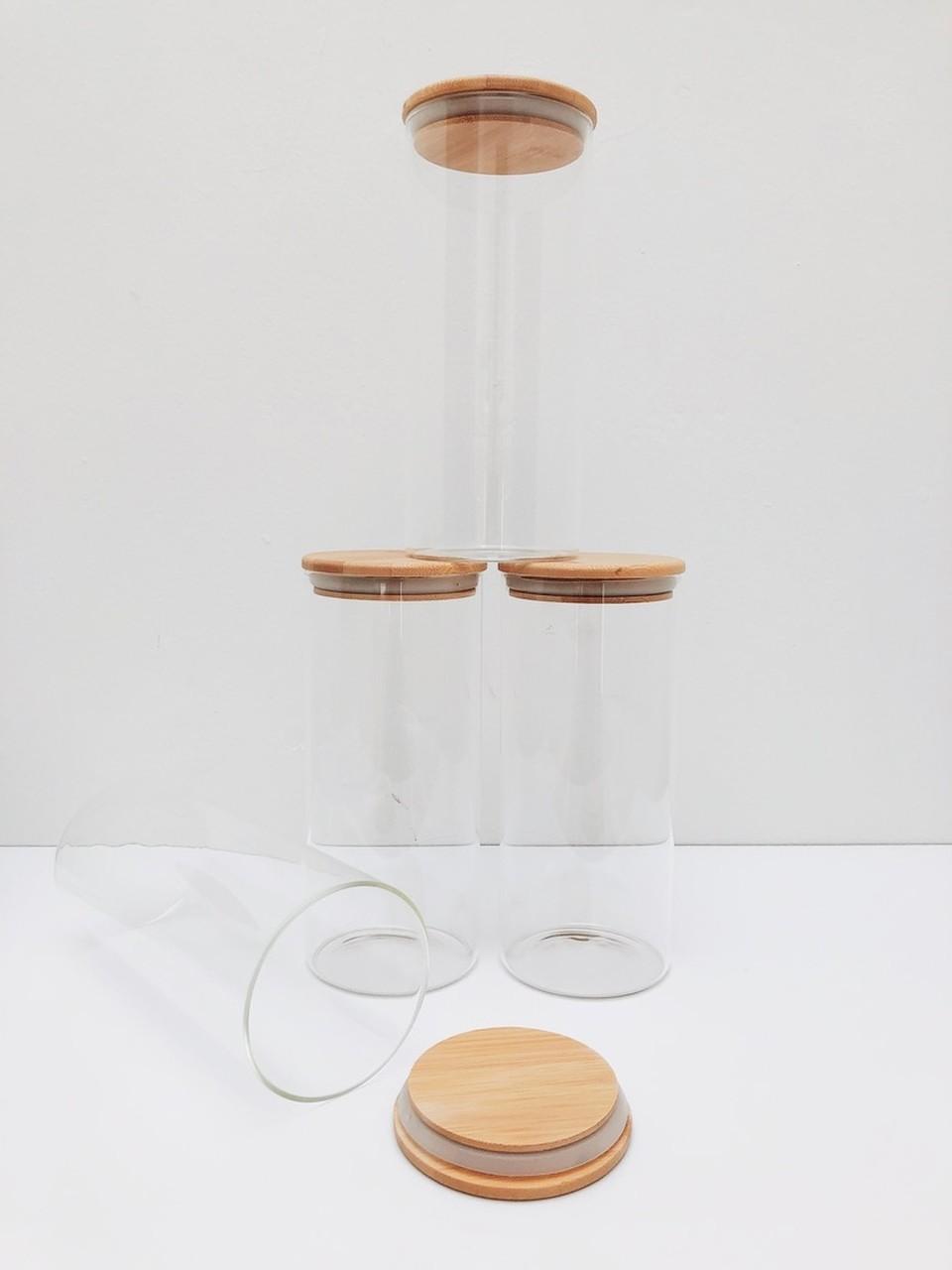 Kit Pote de Vidro com Tampa de Bambu 1650ml - 4 Peças  - CASACOBRE