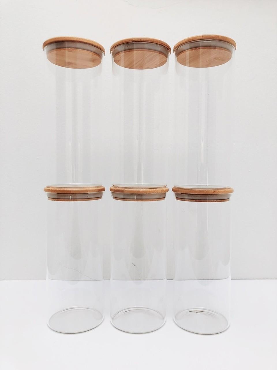 Kit Pote de Vidro com Tampa de Bambu 1650ml - 6 Peças  - CASACOBRE