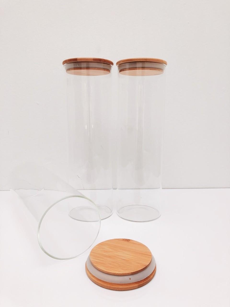 Kit Pote de Vidro com Tampa de Bambu 2000ml - 3 Peças  - CASACOBRE