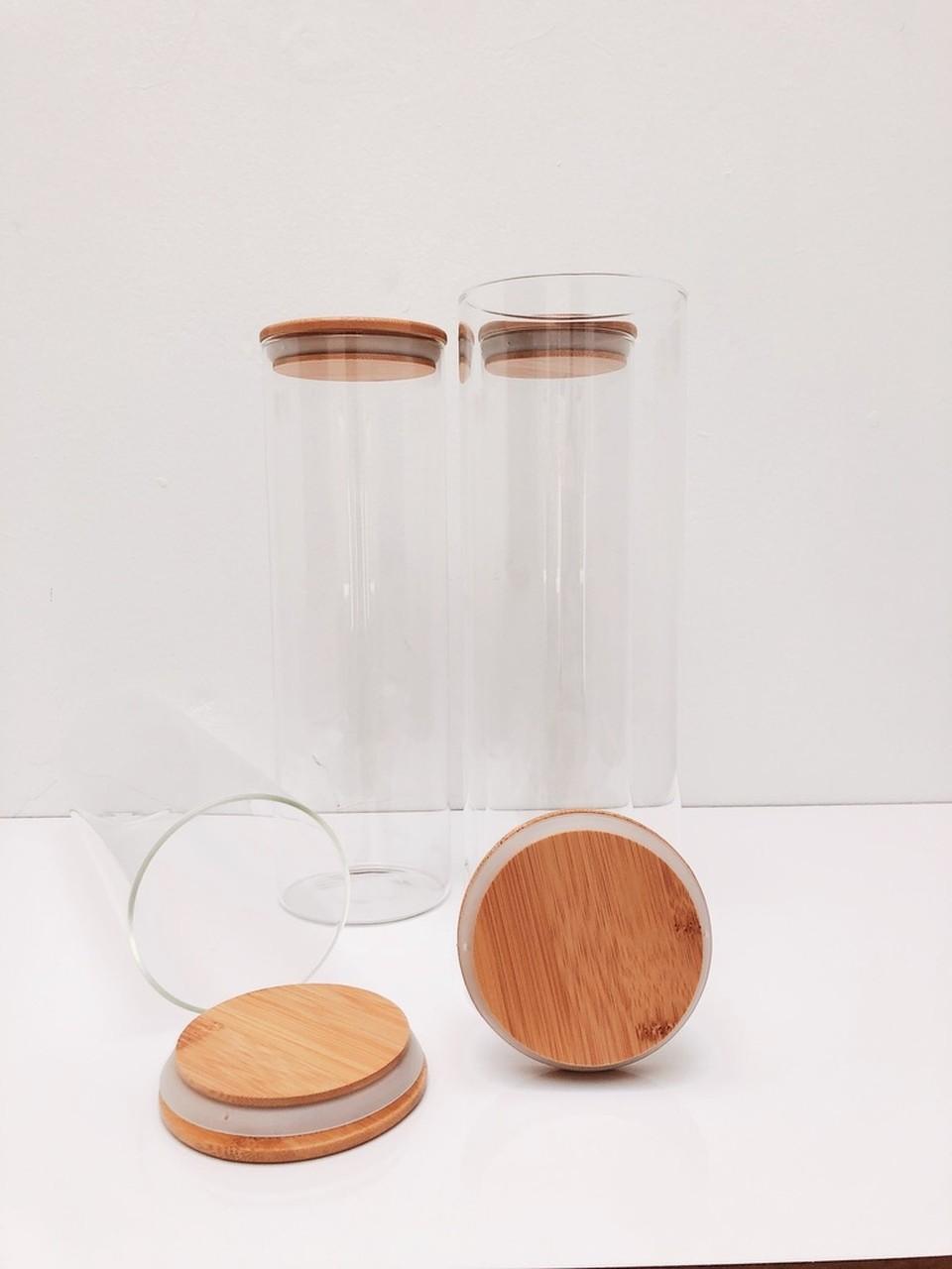 Kit Pote de Vidro com Tampa de Bambu 2000ml - 4 Peças  - CASACOBRE