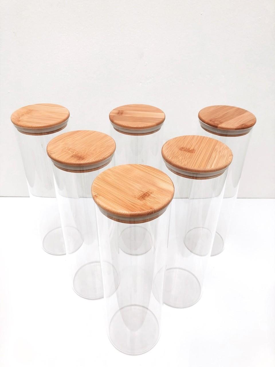 Kit Pote de Vidro com Tampa de Bambu 2000ml - 6 Peças  - CASACOBRE