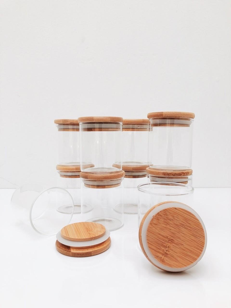 Kit Pote de Vidro com Tampa de Bambu 200ml - 10 Peças  - CASACOBRE