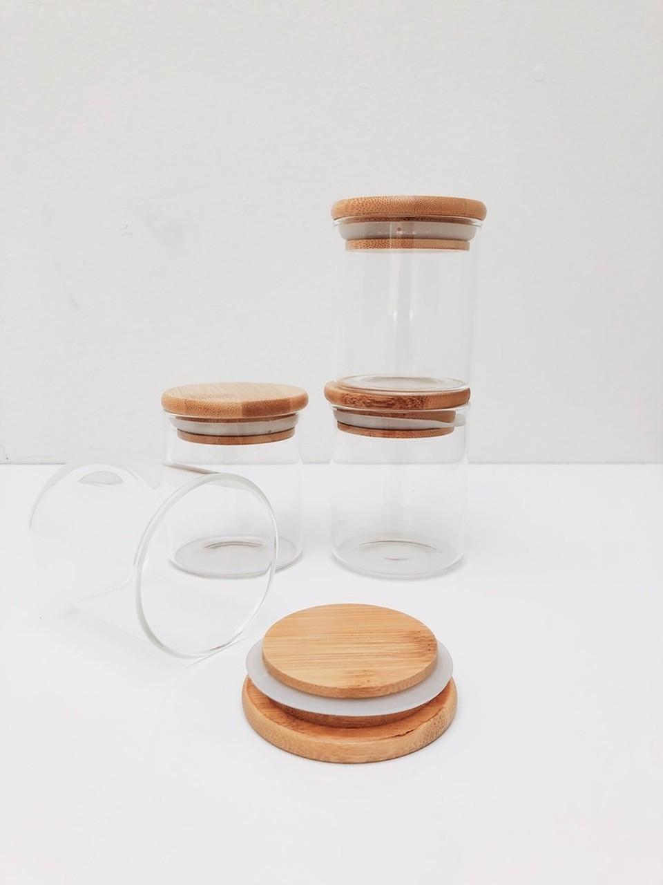Kit Pote de Vidro com Tampa de Bambu 200ml - 4 Peças  - CASACOBRE