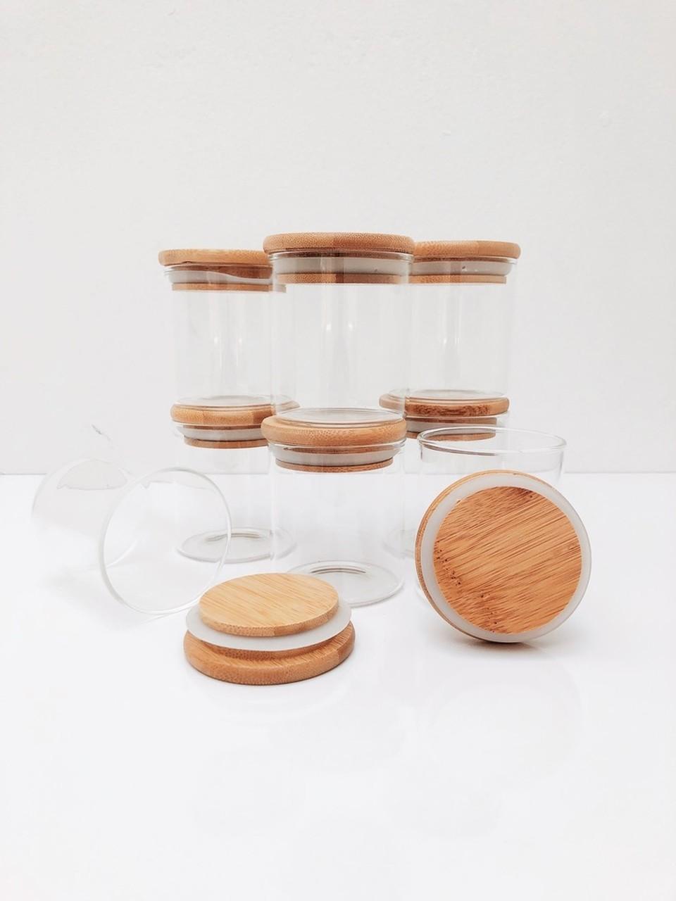 Kit Pote de Vidro com Tampa de Bambu 200ml - 8 Peças  - CASACOBRE