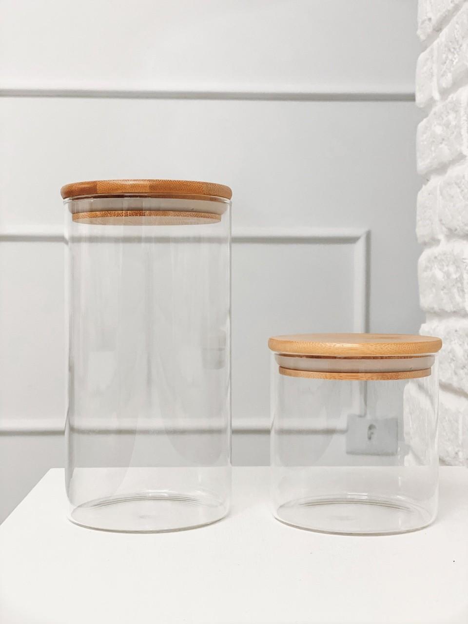 Kit Pote de Vidro com Tampa de Bambu 500ml + 1100ml - 2 Peças  - CASACOBRE
