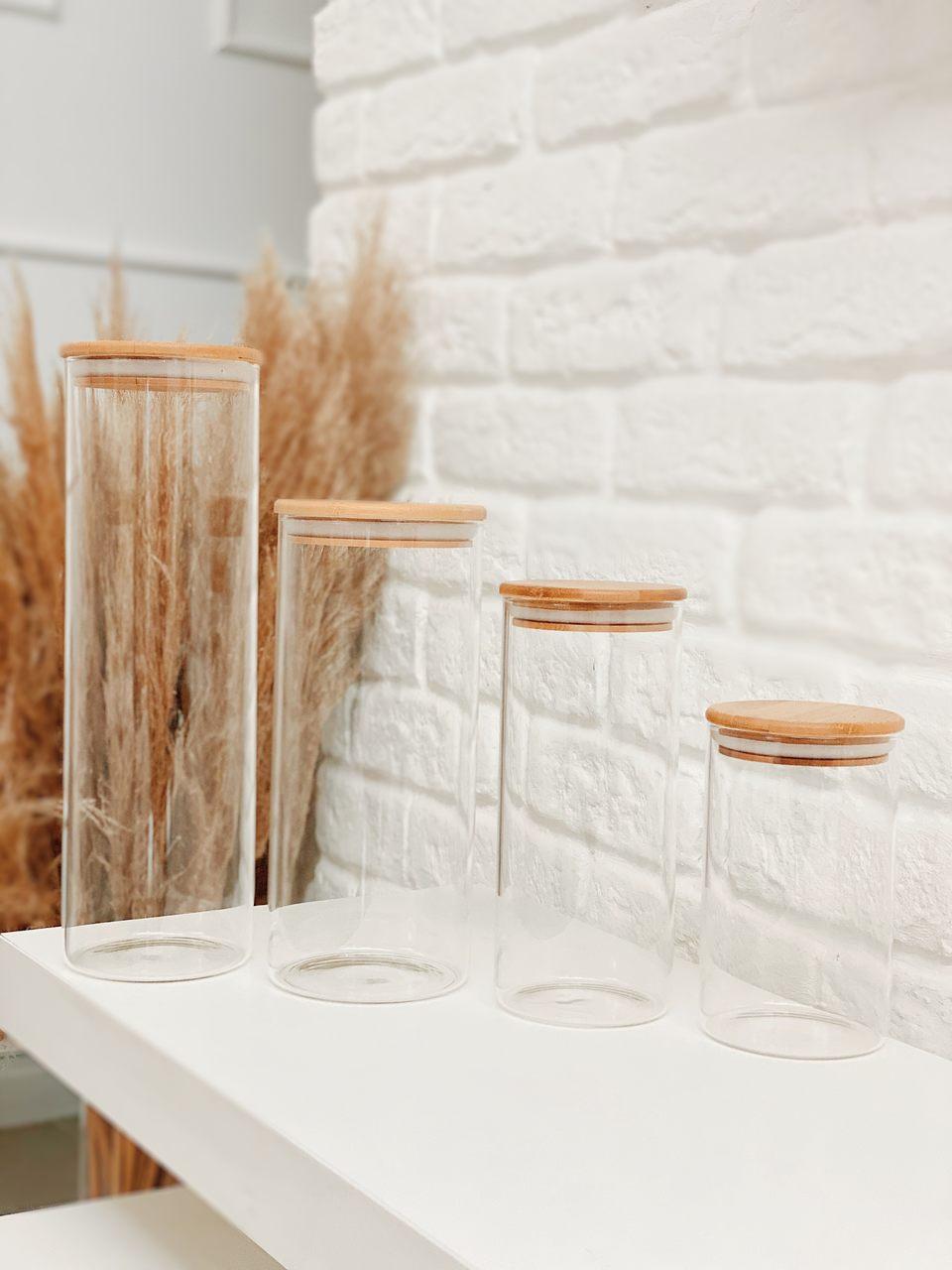 Kit Pote de Vidro com Tampa de Bambu - 4 Peças  - CASACOBRE