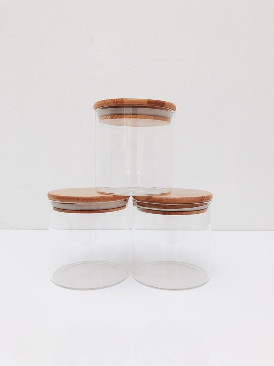 Kit Pote de Vidro com Tampa de Bambu 500ml - 3 Peças  - CASACOBRE