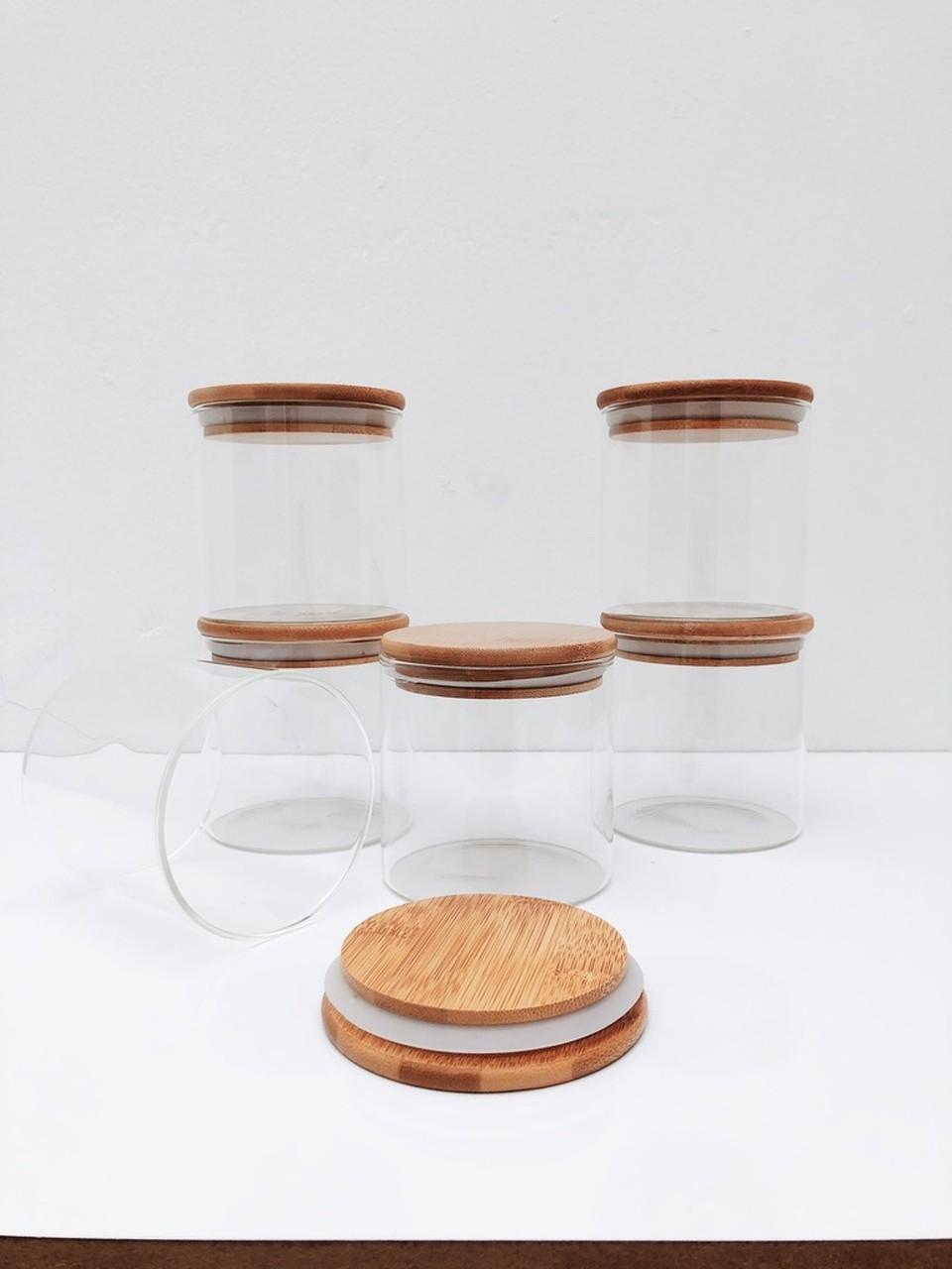 Kit Pote de Vidro com Tampa de Bambu 500ml - 6 Peças  - CASACOBRE