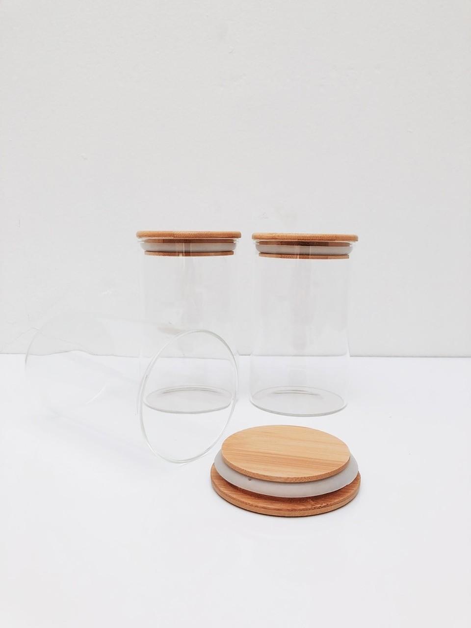 Kit Pote de Vidro com Tampa de Bambu 600ml - 3 Peças  - CASACOBRE
