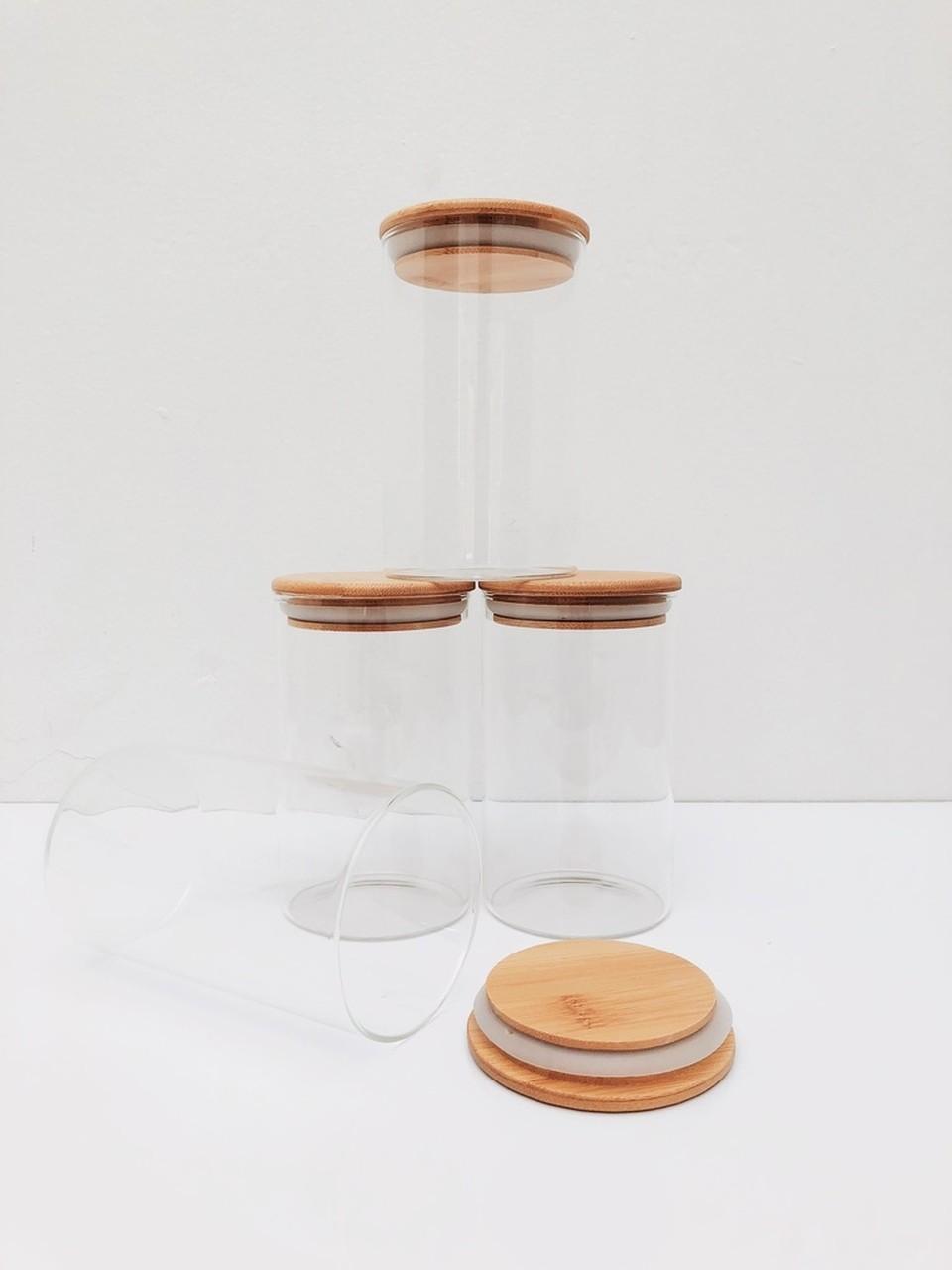 Kit Pote de Vidro com Tampa de Bambu 600ml - 4 Peças  - CASACOBRE