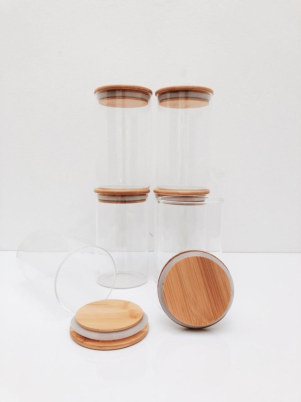 Kit Pote de Vidro com Tampa de Bambu 600ml - 6 Peças  - CASACOBRE