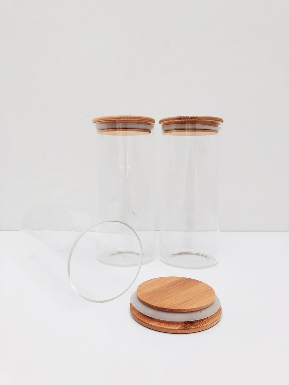 Kit Pote de Vidro com Tampa de Bambu 800ml - 3 Peças  - CASACOBRE