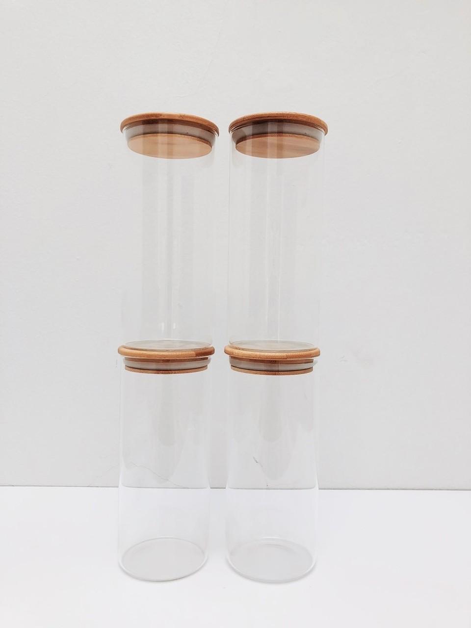 Kit Pote de Vidro com Tampa de Bambu 800ml - 4 Peças  - CASACOBRE