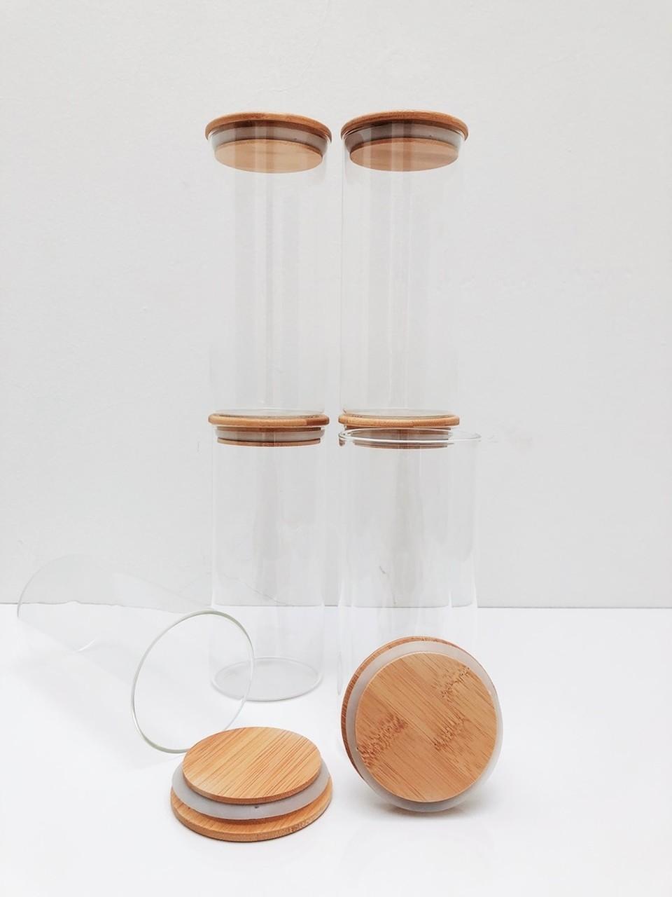 Kit Pote de Vidro com Tampa de Bambu 800ml - 6 Peças  - CASACOBRE