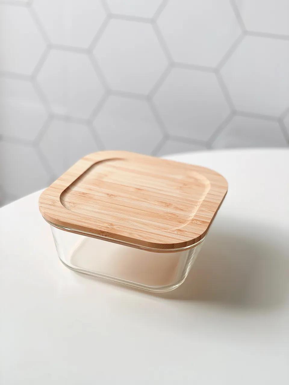 Kit Pote de Vidro Quadrado com Tampa de Bambu - 3 Peças  - CASACOBRE