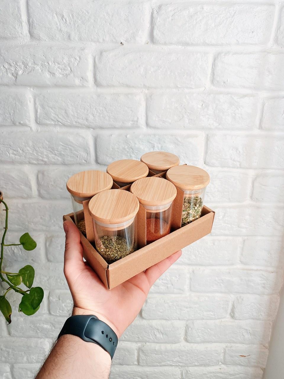 Kit Pote Hermético com Tampa de Bambu 110ml - 6 Peças  - CASACOBRE